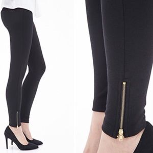 Forever 21 Pants - Forever 21 Faux Leather Zippered Ankle Leggings