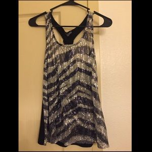 Sparkle Sequin Zebra Print Tank top