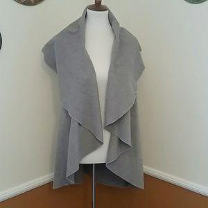 Gray sweater blanket sleeveless long cardigan