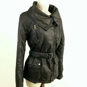 Topshop Jackets & Blazers - Topshop black waxed cotton coat