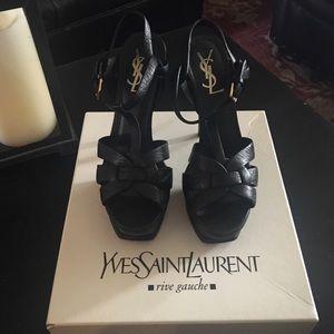 Yves Saint Laurent Shoes - YSL black Tribute sandal size 7.5 (37+)