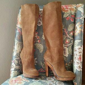 KORS Michael Kors Shoes - NEW KORS MK Knee High Carmal Suede Platform Boots