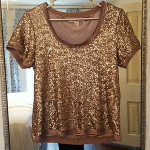 Champagne gold sequin embellished party top