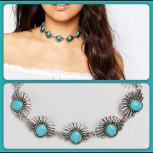 Jewelry - SILVER and Turquoise Collar Choker Necklace