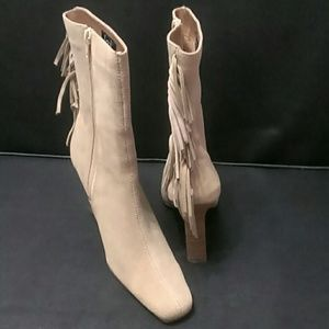 lei Shoes - Beige Suede New Boots with Fringes