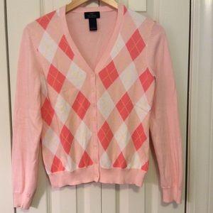 Brooks Brothers 346 Pink Argyle Cardigan