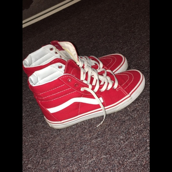 Vans Shoes - Red high top vans 8.5 women s 0649dd523