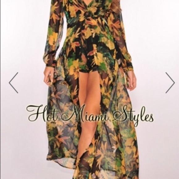 3a1aa9159643 Dresses   Skirts - Tropical print maxi romper