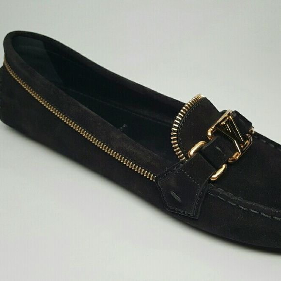 f4fc3a9aa3de louis vuitton women black suede oxford loafer new