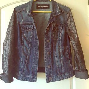 Express Jackets & Blazers - Jean Jacket w Silver Foil Sleeves