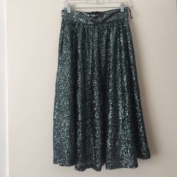 917a876b8e River Island Skirts | Asos Emerald Green Sequin Midi Skirt | Poshmark