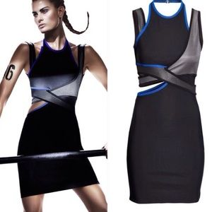 Blue black gray strappy bodycon dress Wang H&M