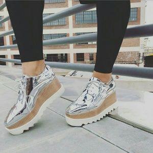 Stella McCartney Shoes - Platform Silver Metallic Stars Oxfords