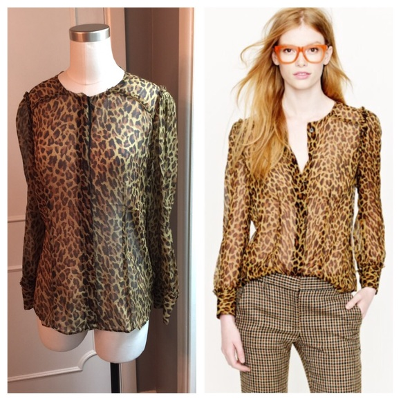J. Crew Tops - J. Crew collection leopard sheer silk blouse ae5ac93c14