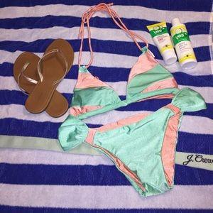 Mint & Coral Bikini (NWOT)