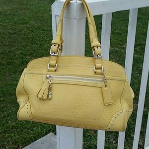 Authentic Coach yellow pebbled leather tote