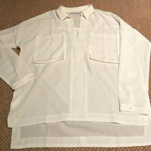 Lush Tops - Oversized White Pullover Collared V-Neck Blouse