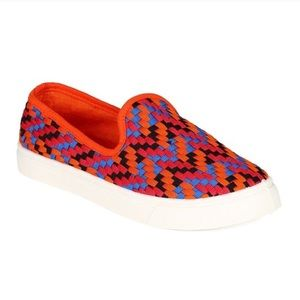 Misbehave Shoes - Misbehave Multi-Color Orange Slip On Sneakers