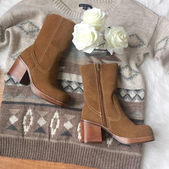 Soda Retro Chunky Wood Heeled Boots