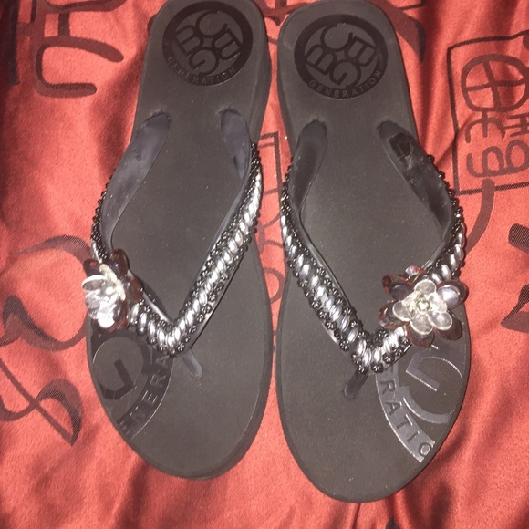 BCBG Shoes - BCBG brand new flower beaded sandals size 10