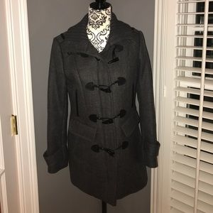 Cole Haan heather gray toggle front wool coat