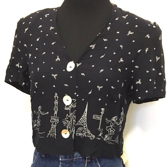 Vintage Tops - Adorable Vintage Paris Cropped Blouse