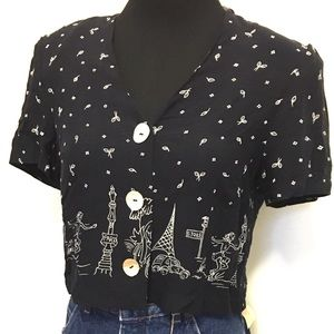 Adorable Vintage Paris Cropped Blouse