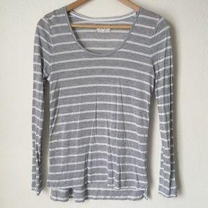 Lou & Grey Tops - Lou & Grey gray striped long sleeve soft tee