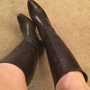 Shoes - Brown Leather Italian Stretch Tall Boots 7.5