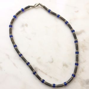 Gray and Blue Beaded Necklace