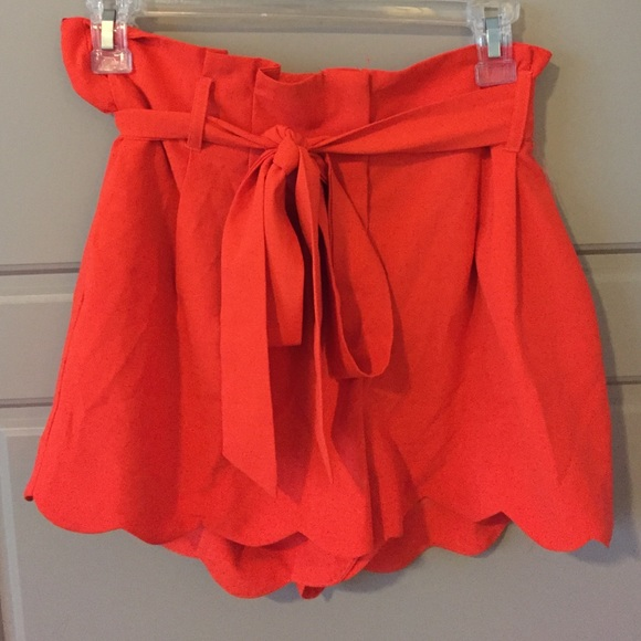 70% off C. Luce Pants - Orange high waisted scalloped shorts from ...