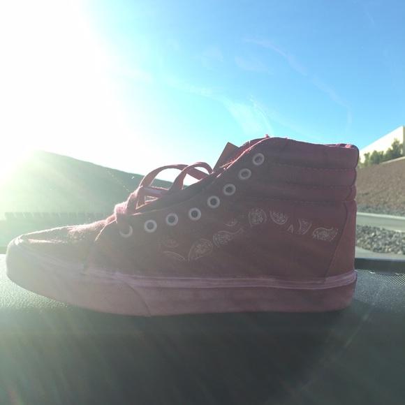 Vans Shoes - Vans Red Over Washed Hightops