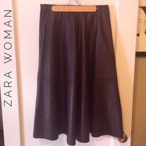 Oxblood leather midi skirt