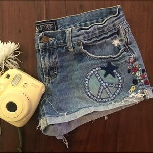 PINK Victoria's Secret Pants - Size 6 PINK cut off jean short with patches