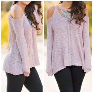 Dusty Rose Cold Shoulder Sweater(S,M)