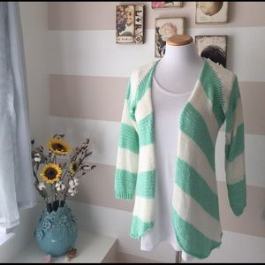 Love Stitch Sweaters - Love Stitch Mint and Cream Sweater