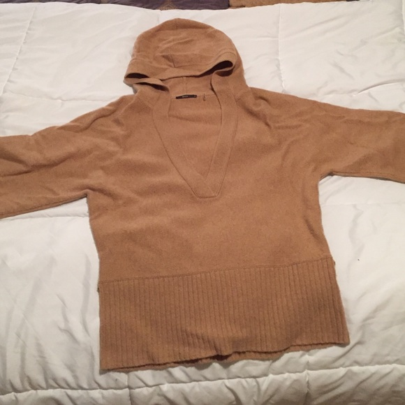 88% off Maya Sweaters - Tan hooded v neck sweater from Mary ...