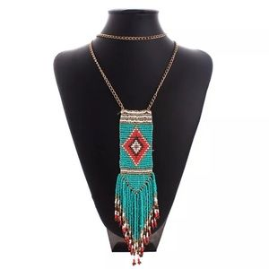Tribal Beaded Tassel Pullover Necklace in Blue