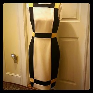 Colorblock sheath dress in yellow, white, and blue