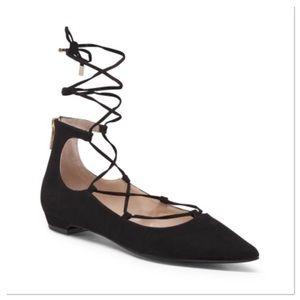 UNISA Shoes - Cute Black Lace Up Flat