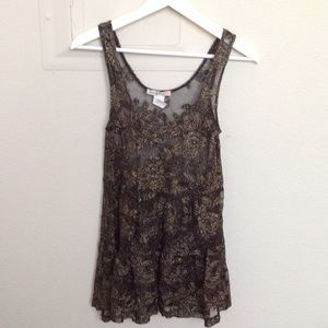 Love Squared Tops - Love squared black and gold sheer tank
