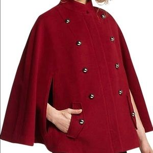 Anthropologie Jackets & Blazers - Anthropologie burgundy wool cape w/ buttons - NWT