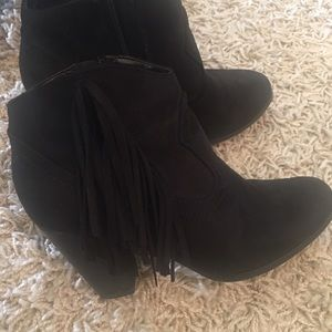 Shoes - Black ankle fringe cowboy style boots.