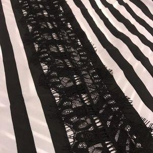 XOXO Tops - XOXO sleeveless black/white/lace striped top