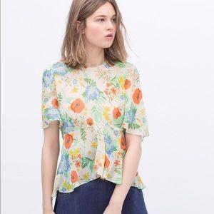 Nwot ZARA sherr floral blouse