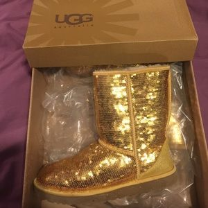 Gold Sequin Uggs Boots