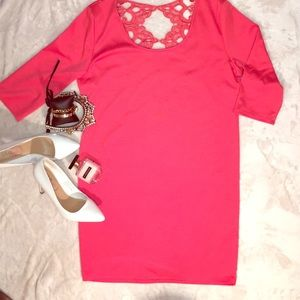 ALLOY APEARL Coral/Laced Long sleeve dress