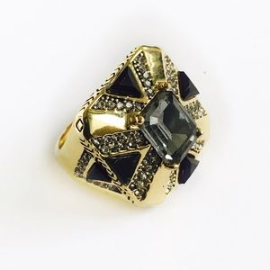 House of Harlow 1960 Jewelry - House of Harlow 1960 Gold / Black Art Deco Ring.