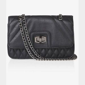 Express Handbags - Express Quilted Shoulder Bag with Gunmetal Chain