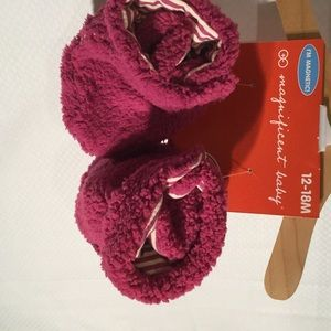 Magnificent Baby Other - Baby girl raspberry magnetic closure booties